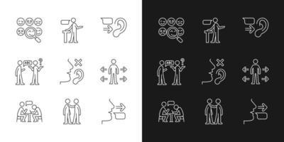 ícones lineares de comunicação eficaz definidos para modo claro e escuro vetor