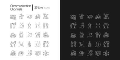 ícones lineares do canal de comunicação definidos para o modo claro e escuro vetor