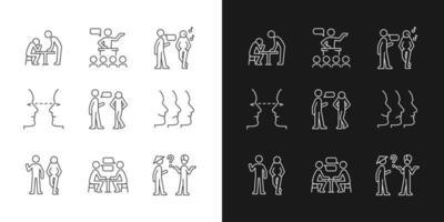 ícones lineares do processo de comunicação definidos para o modo claro e escuro vetor