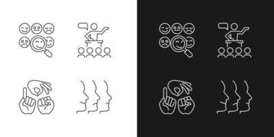 construir relacionamentos com pessoas ícones lineares definidos para o modo claro e escuro vetor