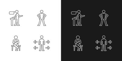 ícones lineares de habilidades de comunicação definidos para o modo claro e escuro vetor