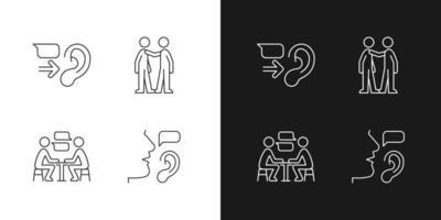 ícones lineares de comunicação verbal e não verbal definidos para o modo claro e escuro vetor