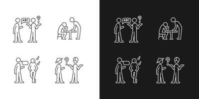 comunicar informações de forma eficaz ícones lineares definidos para o modo claro e escuro vetor