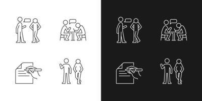 compreensão em ícones lineares de comunicação definidos para o modo claro e escuro vetor