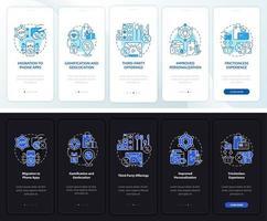 tendências de programas de fidelidade tela da página do aplicativo móvel de integração escura e clara vetor