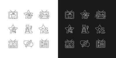 Ícones lineares do programa de televisão definidos para o modo claro e escuro vetor
