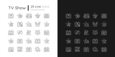 ícones lineares do programa de tv configurados para modo claro e escuro vetor