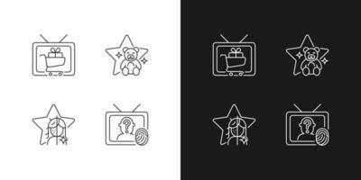 ícones lineares de televisão definidos para modo claro e escuro vetor
