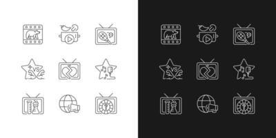 ícones lineares tv definidos para modo claro e escuro vetor
