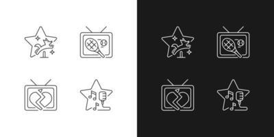 ícones lineares de gêneros de séries de televisão definidos para o modo claro e escuro vetor
