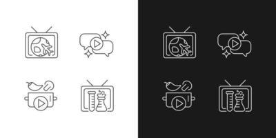 ícones lineares da série de tv definidos para o modo claro e escuro vetor