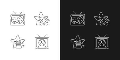 ícones lineares de gêneros de programas de tv definidos para o modo claro e escuro vetor