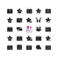 ícones de glifo preto de programa de tv definidos no espaço em branco vetor