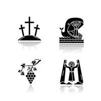 narrativas bíblicas sombreado conjunto de ícones de glifo preto vetor