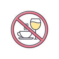 ícone de cor de recusa de cafeína e álcool vetor