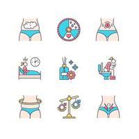 conjunto de ícones de cores do ciclo menstrual vetor