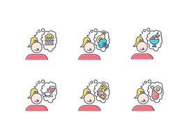 conjunto de ícones de cores de desejo por comida vetor