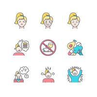 Conjunto de ícones de cores da síndrome pré-menstrual vetor