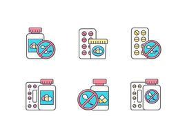 conjunto de ícones de cores de controle de natalidade vetor