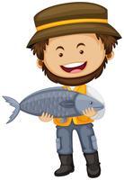 Pescador, segurando, peixe grande, em, mãos vetor