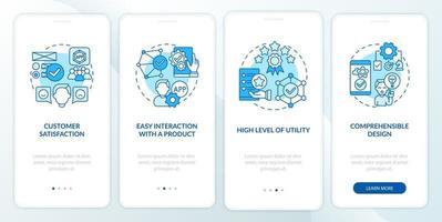 tela da página de avaliação de uso do aplicativo móvel para dispositivos móveis vetor