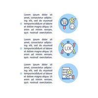ícones de linha de conceito de relevância ux com texto vetor