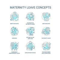 Conjunto de ícones de conceito azul relacionados à licença maternidade vetor