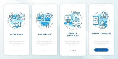 ux design processo de integração tela da página do aplicativo móvel vetor
