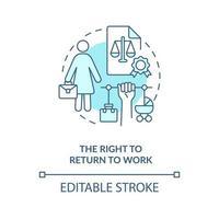 direito de voltar ao trabalho ícone de conceito azul vetor