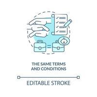 mesmos termos e condições ícone de conceito azul vetor
