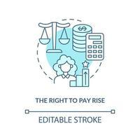 ícone do conceito azul direito de aumento salarial vetor