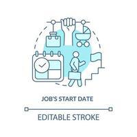 ícone de conceito azul de data de início de trabalho vetor