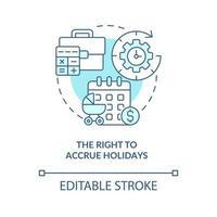 direito de acumular ícone de conceito azul de feriados vetor