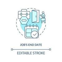 ícone de conceito azul da data de término do trabalho vetor