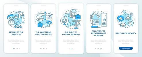 voltar ao trabalho direitos dos funcionários tela azul da página do aplicativo móvel de integração vetor