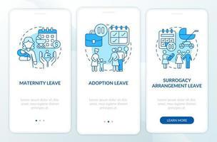tela azul da página do aplicativo móvel de integração dos tipos de licença maternidade vetor