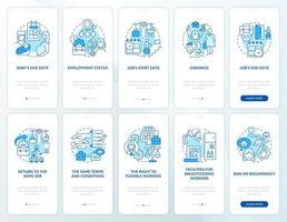conjunto de tela de página do aplicativo móvel azul relacionado à licença maternidade vetor