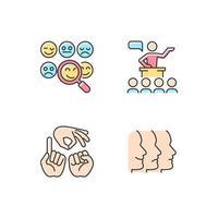 construindo relacionamentos com pessoas conjunto de ícones de cores rgb vetor