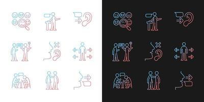 ícones de gradiente de comunicação eficaz definidos para modo claro e escuro vetor