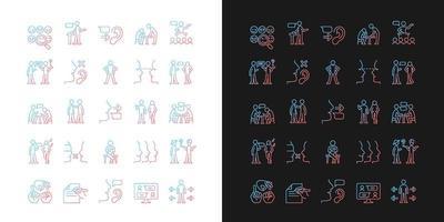 ícones de gradiente de canal de comunicação definidos para modo claro e escuro vetor