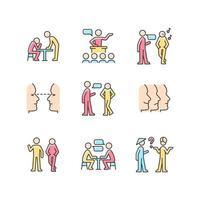 conjunto de ícones de cores rgb do processo de comunicação vetor