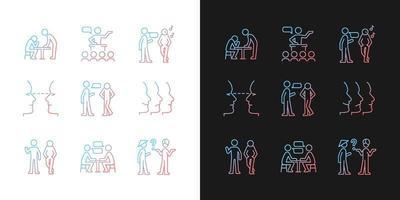 ícones de gradiente de processo de comunicação definidos para modo claro e escuro vetor