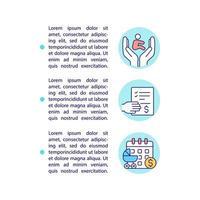 inscreva-se para ícones de linha de conceito de benefício de maternidade com texto vetor
