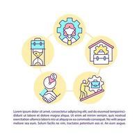 ícones de linha de conceito de trabalhadores casuais e cidadãos autônomos com texto vetor