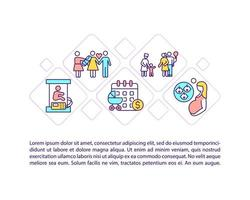ícones de linha de conceito de tipos de licença maternidade com texto vetor