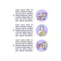 ícones de linha de conceito de adoção e barriga de aluguel com texto vetor