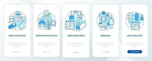 cálculo dos requisitos de pagamento de maternidade tela azul da página do aplicativo móvel de integração vetor