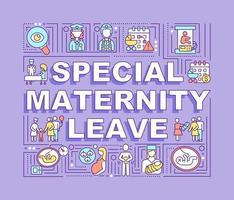 banner de conceitos de palavras de licença maternidade especial vetor