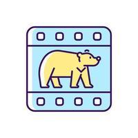 ícone de cor rgb de documentário de vida selvagem vetor