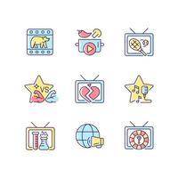 conjunto de ícones de cores tv rgb vetor